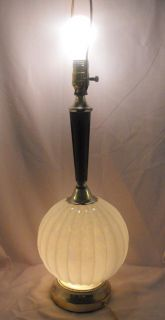 Vtg Mid Century Modern Danish Glass Ball Globe Table Lamp