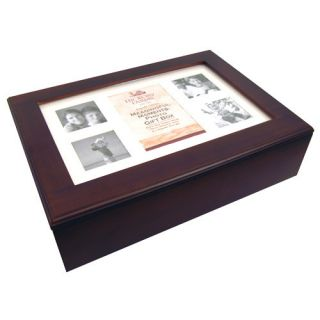 Hickory Farms Photo Memory Jewelry Box Cherry Wood Glass Top