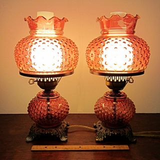 Table Lamp Pair Cranberry Hobnail Flash Glass Western Saloon Style