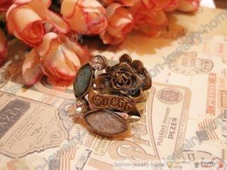 Fashion Dazzling Green Pink Crystal Rose Crown Ring