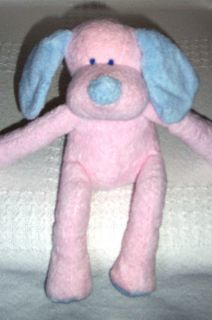 2001 Baby Ganz Plush Pink Blue Puppy Dog Rattle Lovey Stuffed Animal