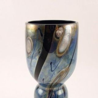 Beautiful Blue Iridescent Art Glass Vase Signed 1994