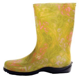 Tulip Green Printed Garden Boots Rain Boots Womens Sizes 6 11