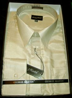 Mens George Martin Dress Shirt Beige Sz 16 161 2 Sleeve 34 35 New in