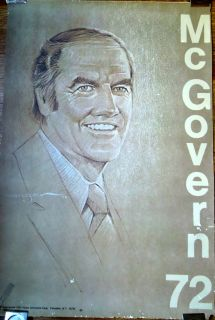 GEORGE McGOVERN Original 1972 Presidential Campaign Poster SANGER
