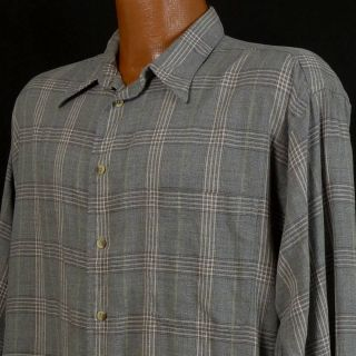 GITMAN BROS Gray Check Plaid Cotton Rayon Blend LS Pocket Button Shirt