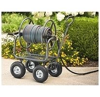 Outdoor Garden Water Hose Reel Storage Cart 300ft 4 Wheel Portable