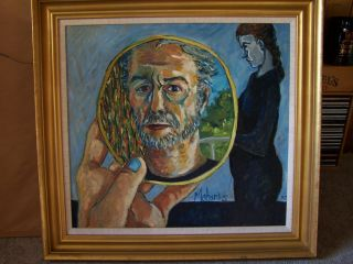 George Maharis Original Oil on Canvas titled Self Portrait