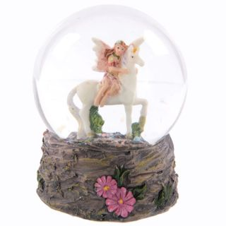 Flower Fairy Riding Unicorn Snow Globe Waterball