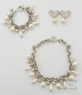 Givenchy 3 Piece Silver Chain Pearl Bead Necklace Bracelet Earrings