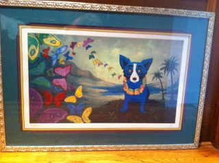 George Rodrigue Hawaiian Blues Blue Dog Limited Edition Print 1998
