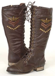 New Military Fashion Womens Brown Combat Dress Boots