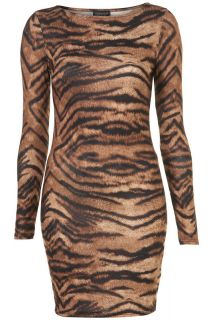 TOPSHOP Animal Tiger Print Bodycon Dress Brown Size 10