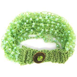 Glass Seed Bead Crochet Bracelet 8 Peridot Green