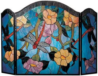 Dragonfly Fireplace Screen Hand Rolled Art Glass Blue Red Brass