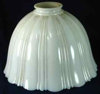 Antique Milk Glass Ribbed Shade Electric Hanging Lamp