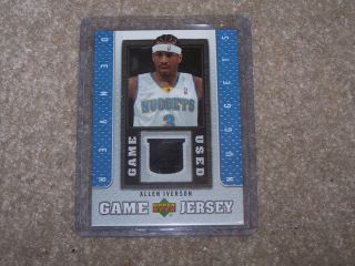 Georgetown Hoyas 76ers Nuggets Allen Iverson Game Used Jersey Card