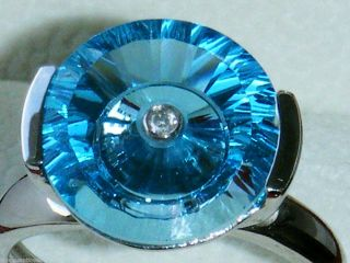 Superb 9ct White Gold Glenn Lehrer Huge Blue Topaz Diamond Ring Size S