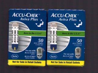 ACCU CHEK Aviva Plus test strips 2 X 50 100strips factory sealed exp