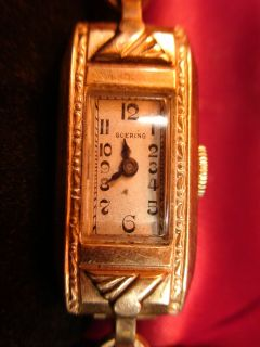 GOERING ANTIQUE ROSE GOLD TONE LADIES SWISS WATCH SERVICED WORKS 12K