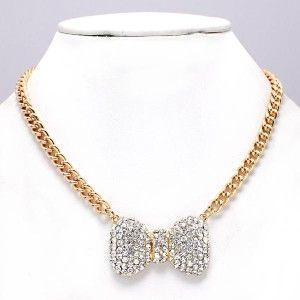 Crystal 1 BOW Tie Pendant Gold Chain Design Jewelry 17 Necklace