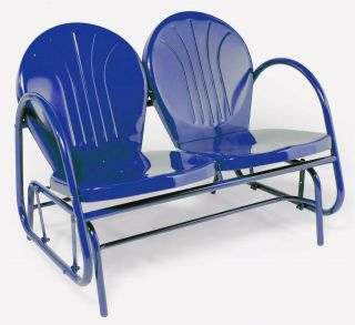 Retro Metal Double Glider Outdoor Lawn Patio Chair Blue New