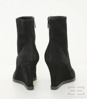 Gianvito Rossi Black Suede Ankle Wedge Boots Size 37