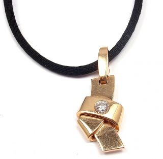 RARE Cartier 18K Rose Gold Diamond Pendant Necklace