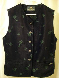 Giesswein Austrian Trachten Black Velvet Vest Pewter Buttons Size 40