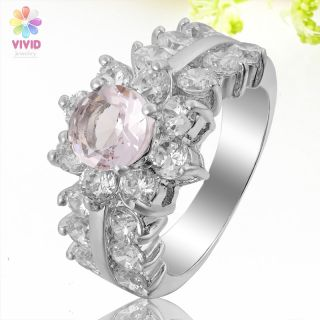 Cut Pink Sapphire Rhinestone 18K White Gold Plated Ring Sz 6