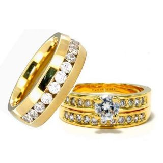 Gold EP His Hers 3 Pieces Mens Womens Titanium Wedding Ring Set