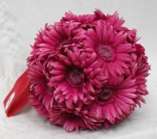 Gerbera Daisies 9 Large Balls Hot Pink Fuchsia Wedding Flowers Pew