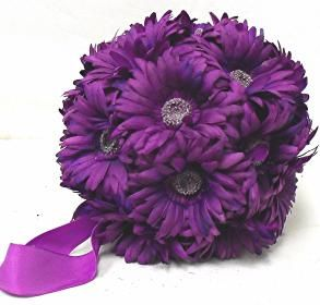 Gerbera Daisies 9 Large Balls Purple Wedding Flowers Pew Bows