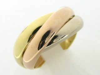 Auth Cartier 18K Tri Color Gold Trinity Ring Size 51
