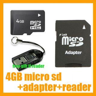 4GB 4 GB MicroSD Micro SD TF Memory Card Adapter Reader