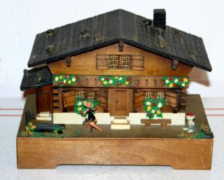 Vintage Wooden Musical Jewelry Box German Style Home Theme Works Well