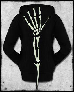 Banned Womens Black Glow in The Dark Ribcage Skeleton Hand Zip Hoodie