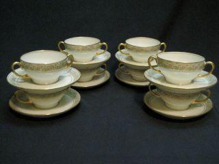 Eight Sets of Bawo & Dotter Limoges Porcelain France Bullion Cups