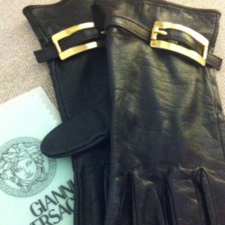Gianni Versace Black Leather Gloves Womens L