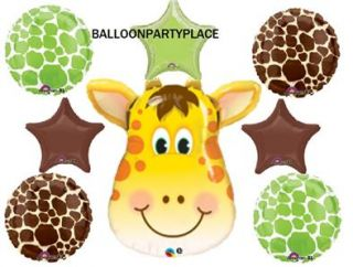 Giraffe Jungle Zoo Safari Lime Chocolate Star Baby Shower Party Mylar