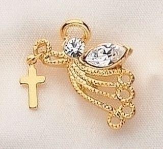 Guardian Angel Dangling Cross Gold Crystal Lapel Pin