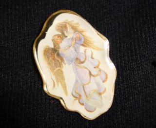 Lot of 6 Gold Tone Angel Brooches Pins Vtg to Modern Pre Owned
