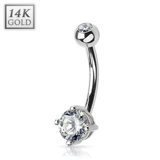 14k White Gold Belly Navel Ring Body Jewelry Round Gem