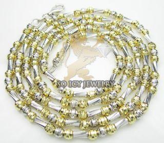 14k Two Tone Gold Italian Diamond Cut Chain Necklace