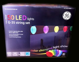 GE 50 LED Bulbs Color Effects Changing Christmas Lights Show String