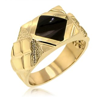 Mens 14k Yellow Gold Onyx Wide Ring Band