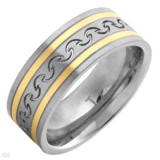 New Titanium Mens Ring Made of Titanium & 14K Gold Plating Size 11