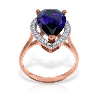 2839 Certified 5.26 Carat RING NATURAL Diamond SAPPHIRE 14K Rose Gold