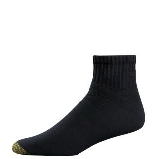 Gold Toe Mens Socks Cushion Cotton Quarter Black 6 Pairs