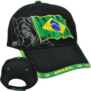 Brazil Brasil Pais Hat Cap Chapeu Acrylic Curved Bill Adjustable
